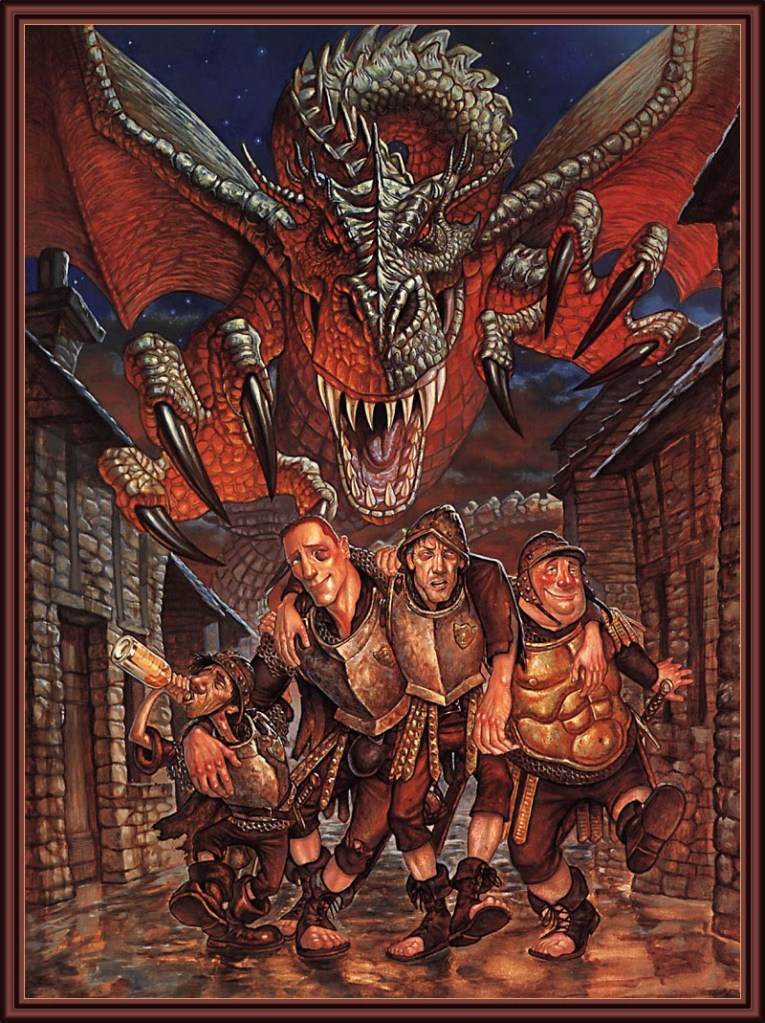 Not my favourite of Kidby's drawings, but Kidby's good with the semi-cartoonesque expressionist look. Contrast the look from later Vimes, this Watchman is almost sickly. And to make matters worse, giant bloody dragon. Bad days.