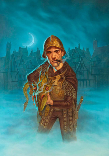 Sam Vimes stands in the middle of a foggy street. Looking at the viewer, he points a small dragon at them in a manner akin to a shotgun.